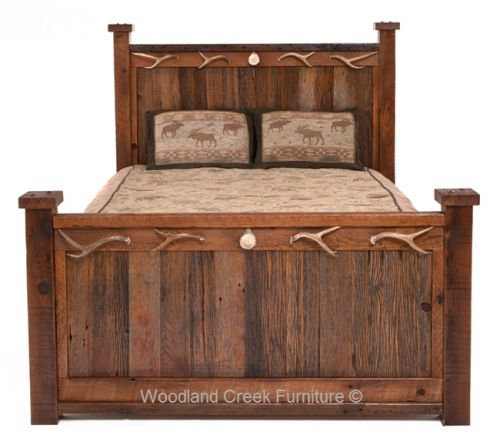 Reclaimed Barn Wood Bed With Antler Accents Available At Woodland Custom Barn Wood Bedroom Furniture Review