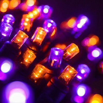 wintergreen lighting 70 led christmas light string color purple orange lightblack wire