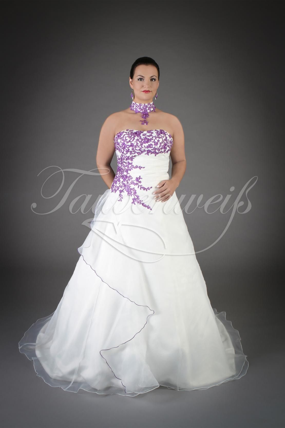 Brautkleid TW20B - A-Linie lila Organza Spitze Perlen Schleppe