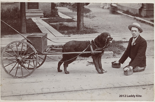 1900s Max J. Engle and his dog Carlo. P This photo was taken to commemorate a trip made from Buffalo to NYC. Max lost his legs in an acciden...
