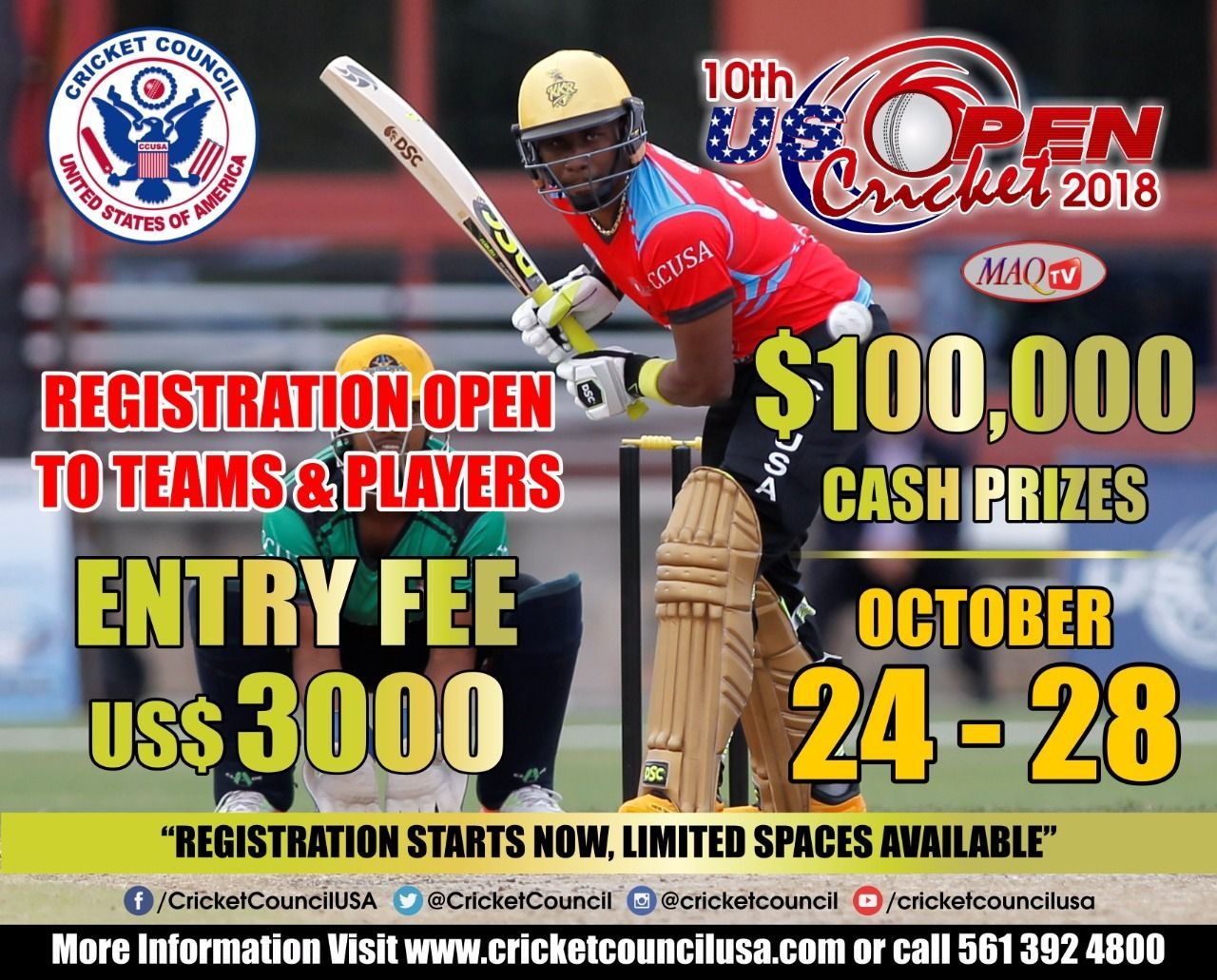 US Open Cricket 2018 [October 24th to 28th, 2018] @ Central