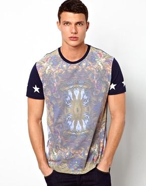 ASOS T-Shirt With Baroque Print And Contrast Sleeves size M