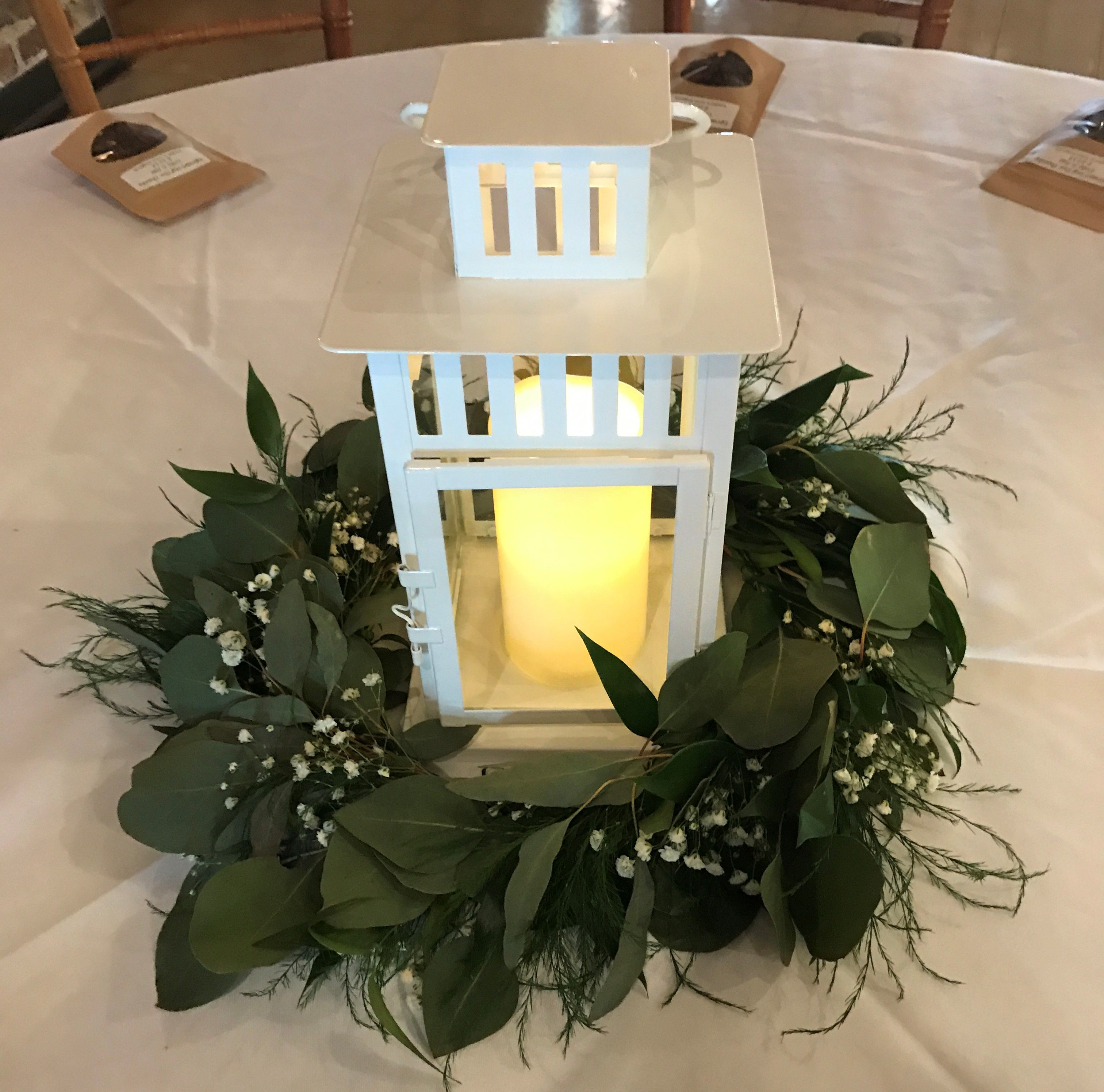 Lantern With Greenery Ring For Wedding Centerpiece (With