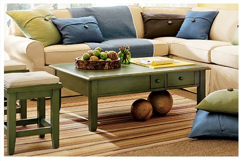 Pottery Barn Style House Decorating With Painted Furniture For - Pottery barn style coffee table