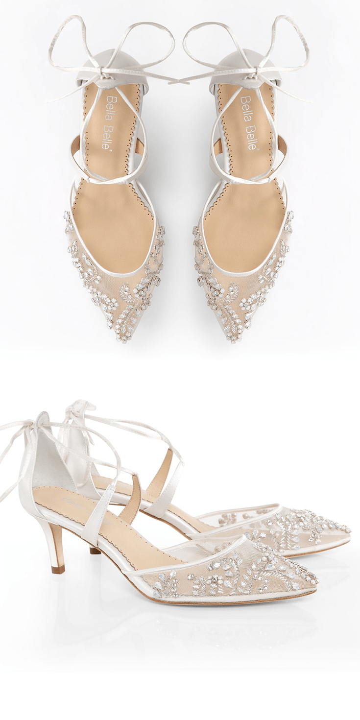 Have A Stress Free Wedding With Bella Belle Comfortable Low Heel Shoe Frances White Silk Tied Bow Ankle Strap And Milky Teardrop Beads At The