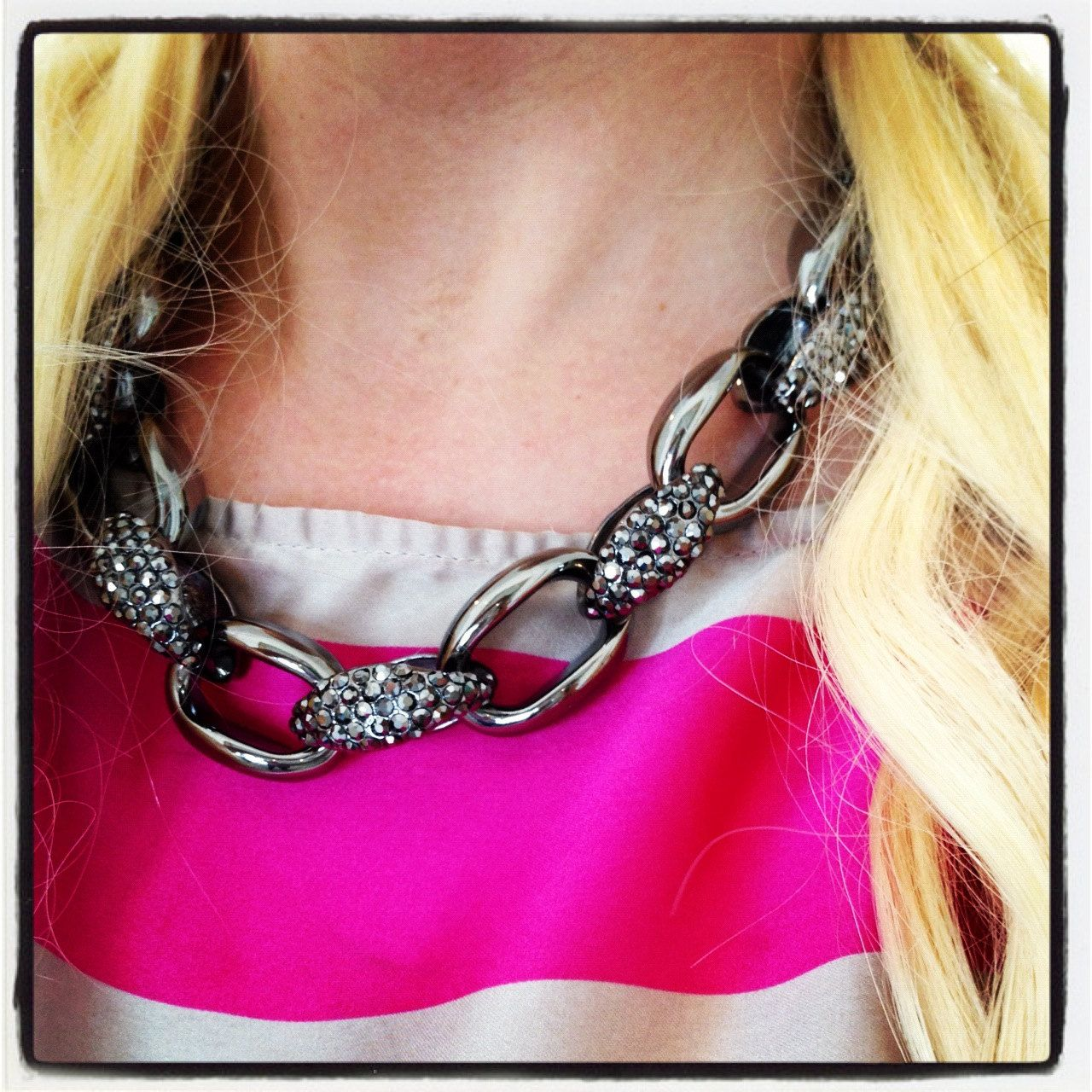 The Gilles Necklace Gunmetal Chain Link with Pave by derng on Etsy
