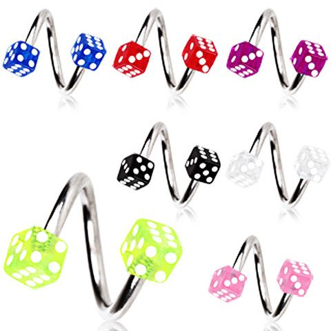 316L Surgical Steel Twist with Acrylic Dice