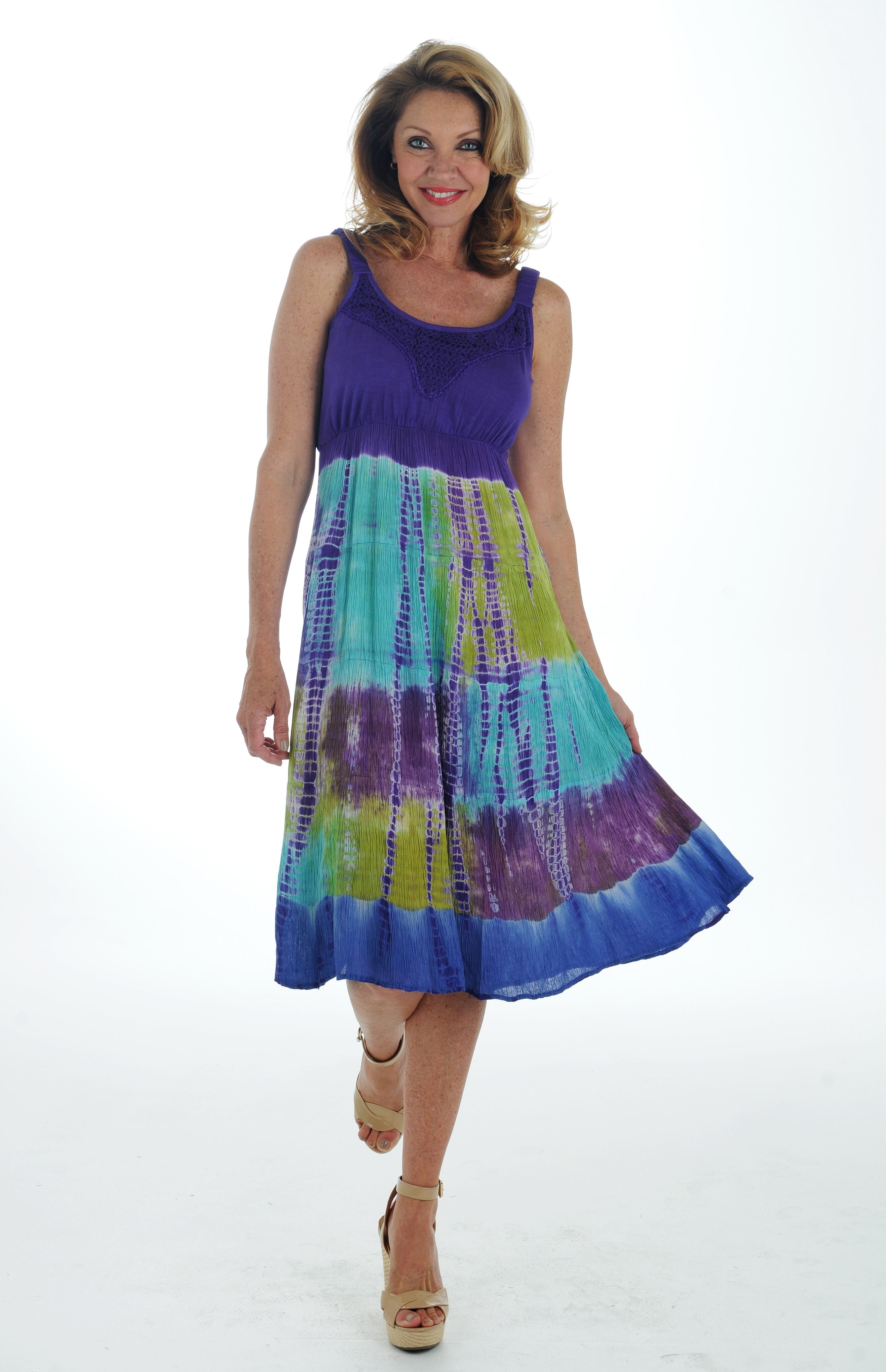 Airy and breathable, both things that make this dress a necessary addition to your summer wardrobe! We love the tie dye effect of the skirt on this Lola P. dress!