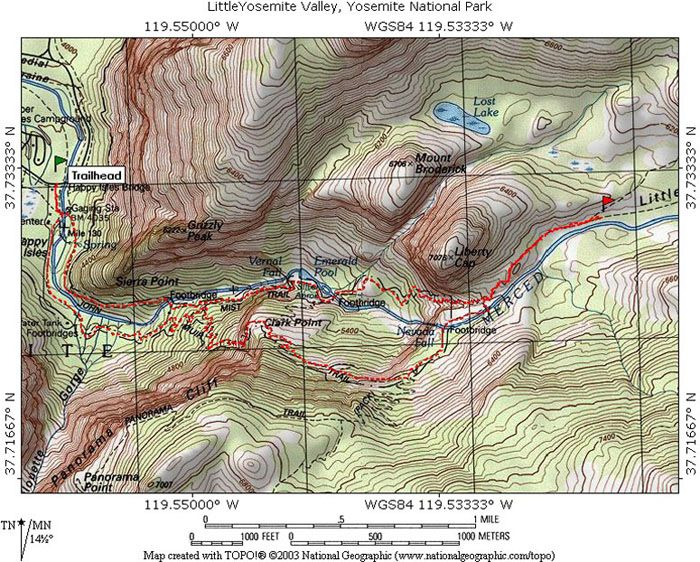 Topographical Map Of Yosemite Valley Sierra Nevada Mnts
