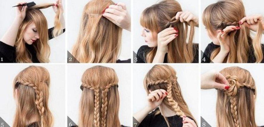 Peinados fáciles y cabello semi recogido con trenzas ...