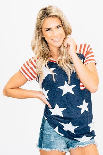 3dee76b1504 Striped and Starred Raglan RubyClaire Clothing
