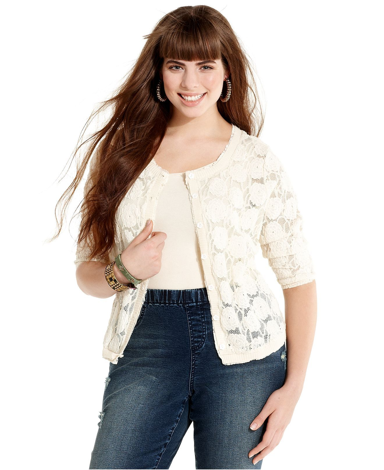 American Rag Plus Size Cardigan, Three-Quarter-Sleeve Lace ...