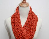 Infinity Crocheted Scarf in Orange