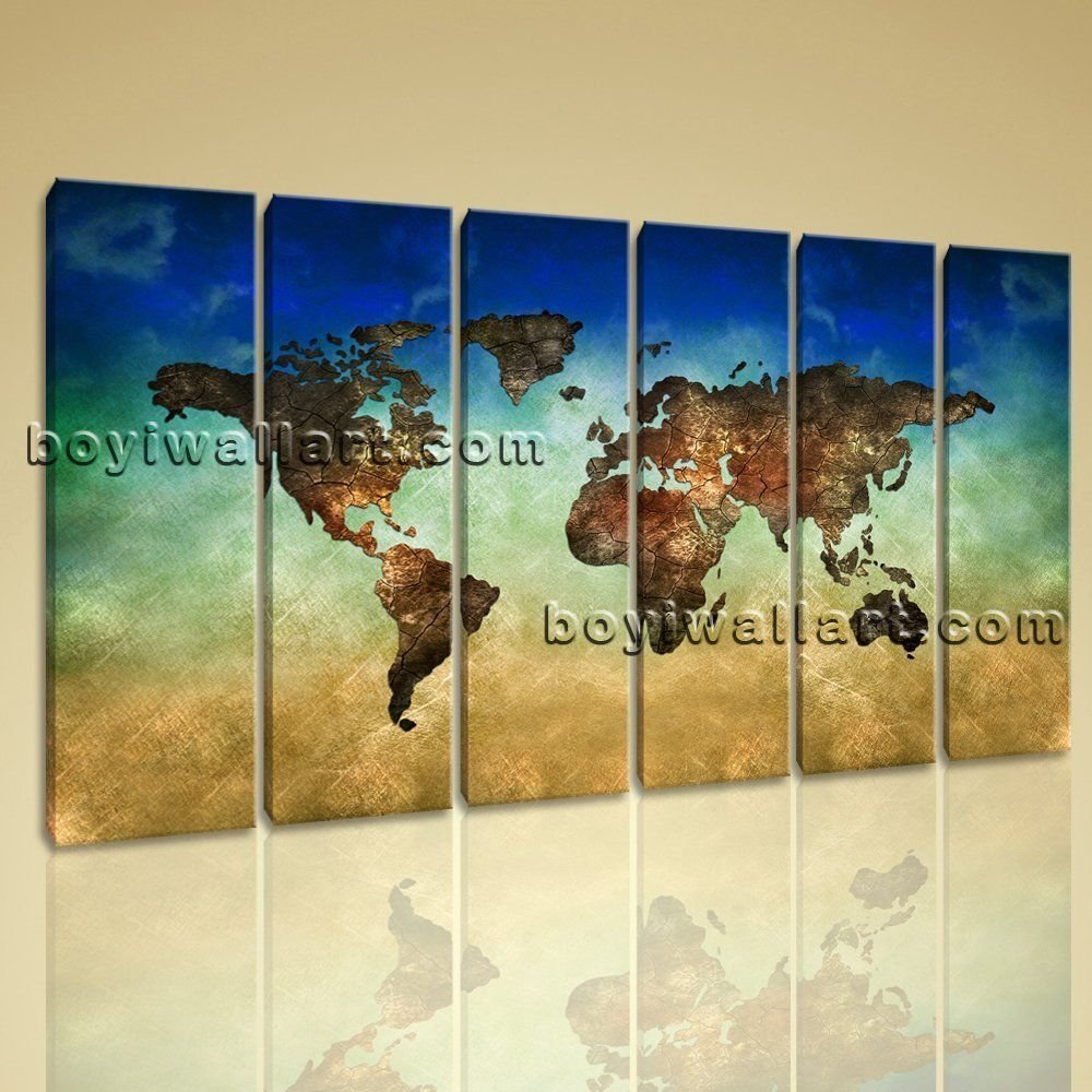 Large World Map Other Retro Canvas Wall Art Decor Living Room Six ...