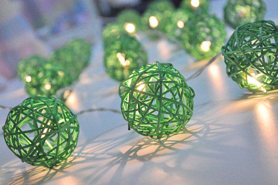 Green Rattan ball string lights for PatioWeddingParty and by ginew     Decoration      Green Rattan ball string lights