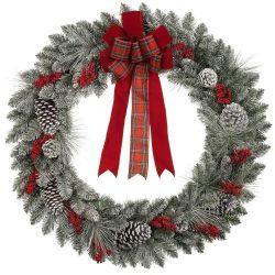 36 in. Snowy Pinecone and Berry Mixed Pine Artificial Wreath
