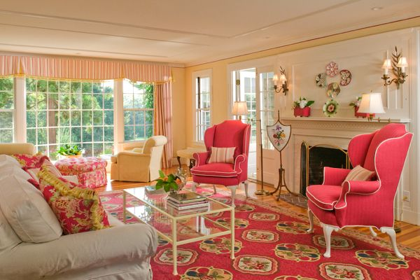 Get The Look Preppy In Pink And Yellow People Washingtonian Home Home Decor Preppy Living Room