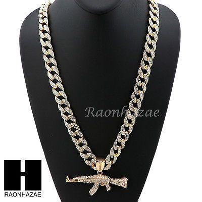 abe5ca109 Hip Hop 14k Gold Plated AK47 GUN Pave Pendant 30