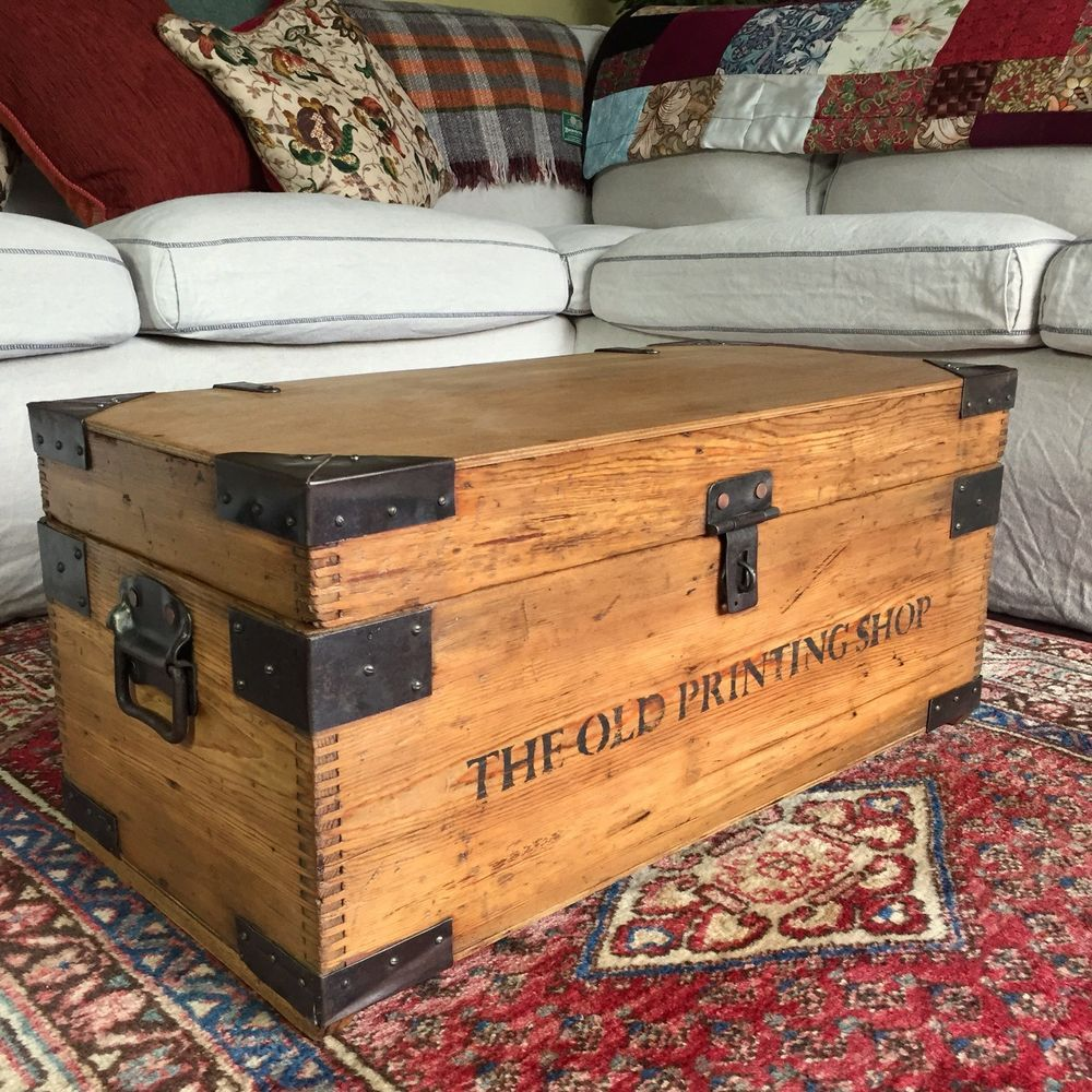 Antique Pine Chest Old Wooden Trunk Table Storage Box Rustic Industrial Chest Decoracao