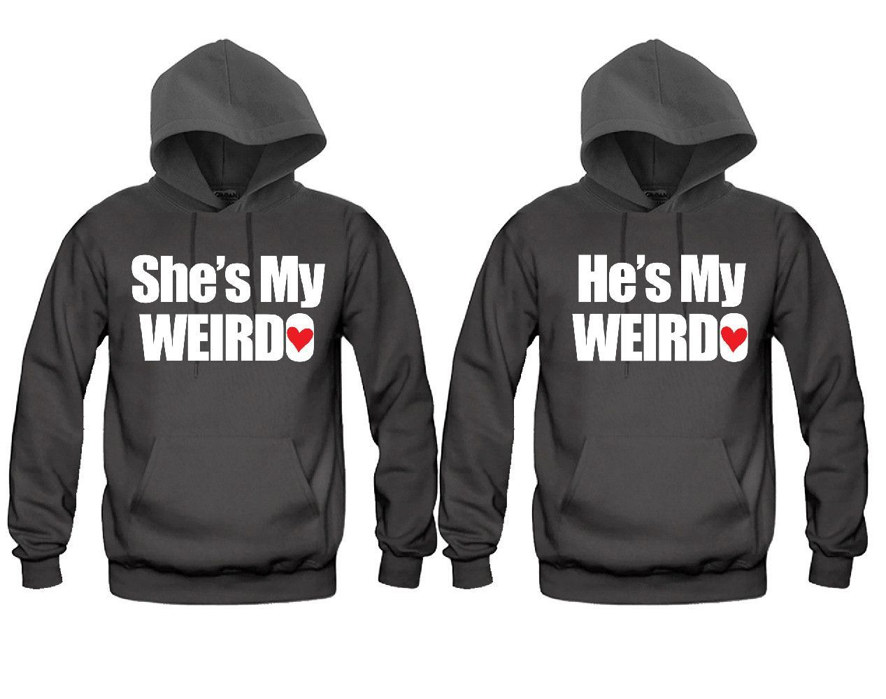 Shes My Weirdo and Hes My Weirdo Cute Matching Hoodies for Couples