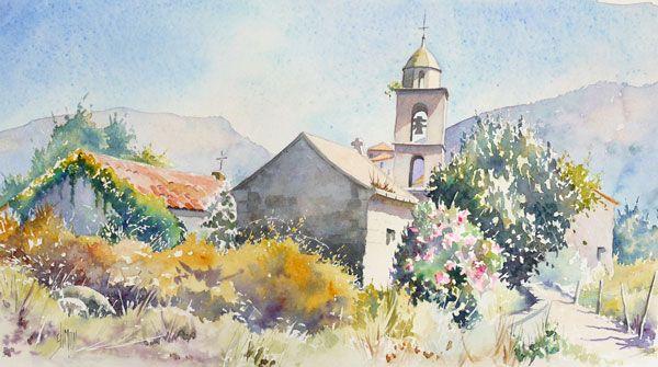 Eglise De Santa Maria 2 Joel Simon Art Aquarelle Idees D