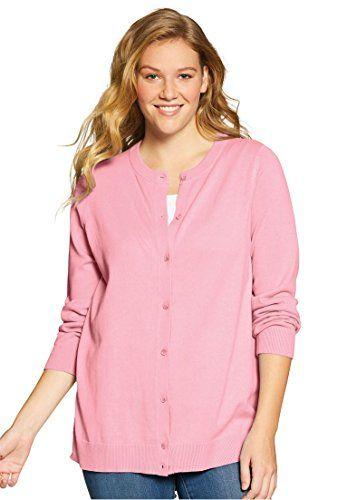 Womens Plus Size Classic Cardigan Sweater Rose Quartz1x Read More
