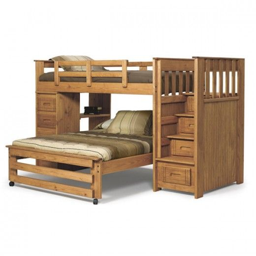 Woodcrest Woody Creek Twin/Full Stairway Bunk with 4-Drawer Tower at AtoZStores.com @1299