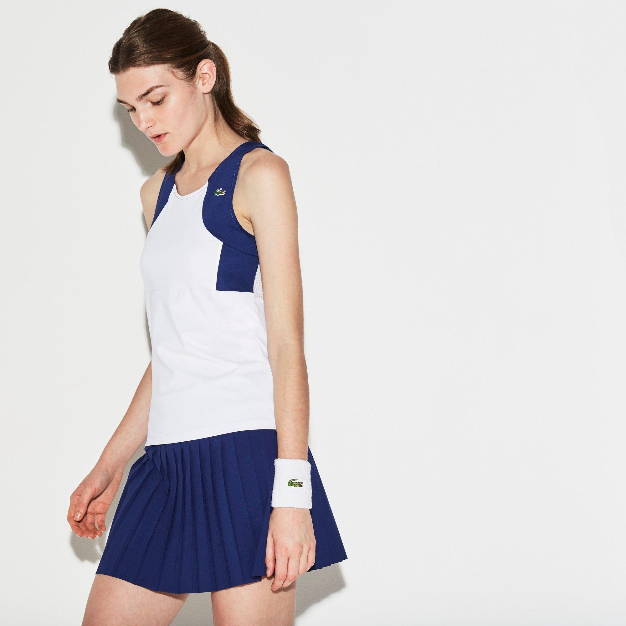 Lacoste Women S Sport Tennis Colorblock Jersey Racerback Dress In White White Navy Blue Modesens Tennis Dress Tennis Tank Tops Lacoste Women