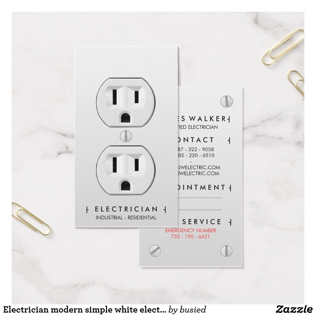 Electrician modern simple white electrical outlet appointment card ...