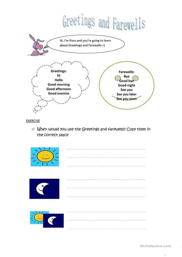 Greetings In Spanish Worksheet Greetings And Farewells English Esl Worksheet Kids Worksheets Printables Free Kindergarten Worksheets Cursive Writing Worksheets