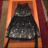 Formal Black Sequence Dress Flat Black with Mesh Neckline Zipper Ribbon to