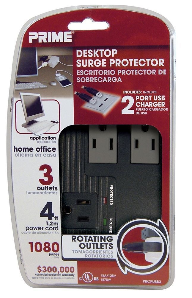 PRIME Wire & Cable 3 Outlet, 2 Rotating Home Computer Surge ...