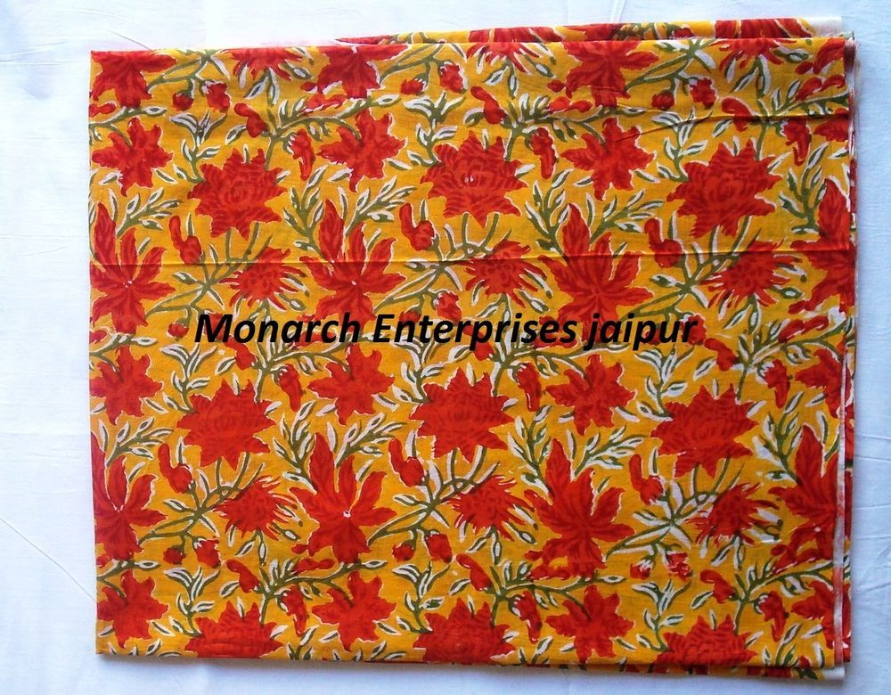 2ace35c6db5 5 Yards Beautiful Flower Cotton Indian Hand Block Floral Print Cloth ...