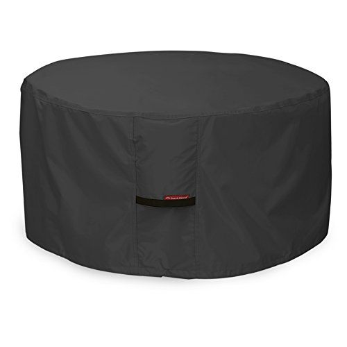 Porch Shield Fire Pit Cover  Waterproof 600D Heavy Duty Round Patio Fire Bowl Cover Black