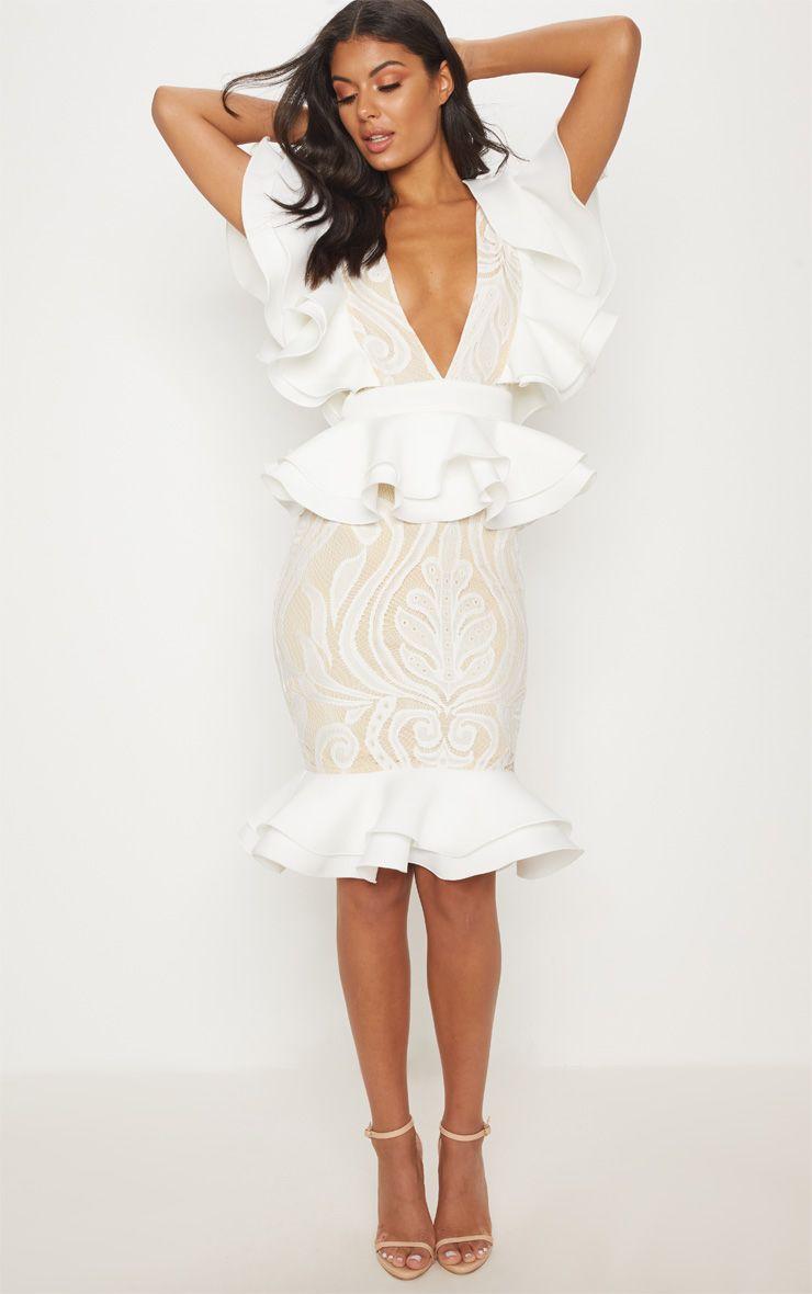 White Ruffle Detail Plunge Midi Dress In 2020 Plunge Midi Dress Piece Prom Dress Midi Dress