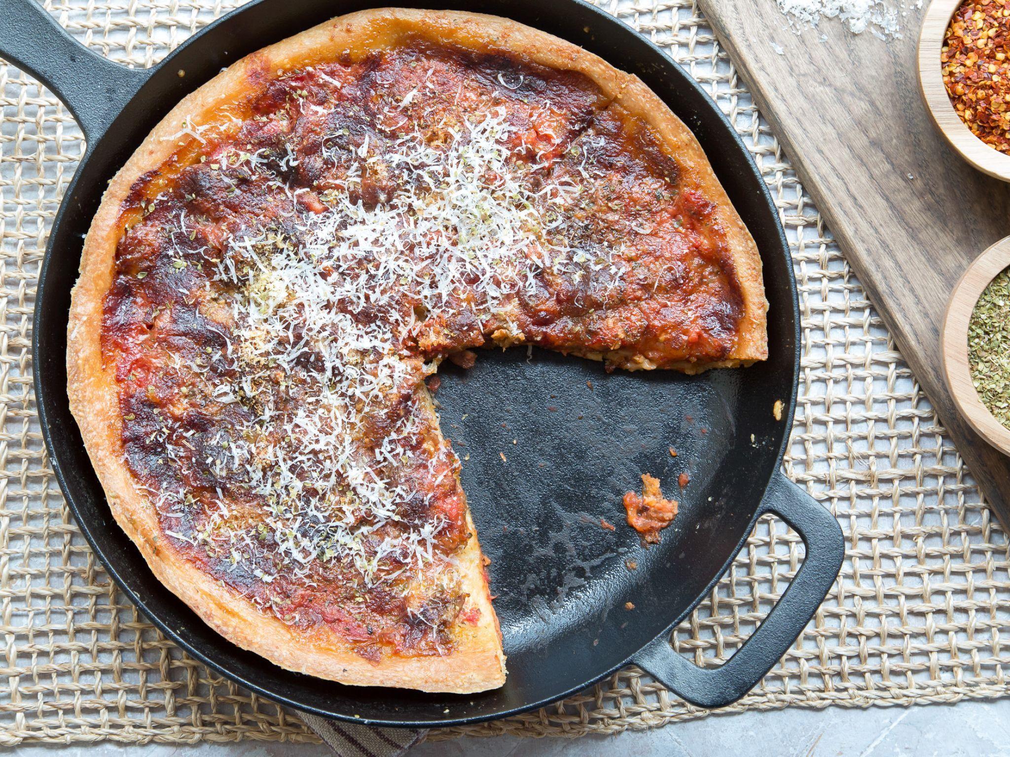 Skillet Deep Dish Pizza Recipe Food Network Recipes Food