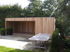 Tuinhuis kubus modern daniel decadt houten constructies houthandel proven tuin - Maak pool container ...