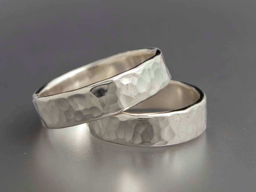 Simple Hammered Sterling Silver Wedding Bands Set of Two 5mm Wide