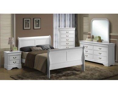 6 Piece Full Sleigh Bedroom   White   Sam Levitz Furniture