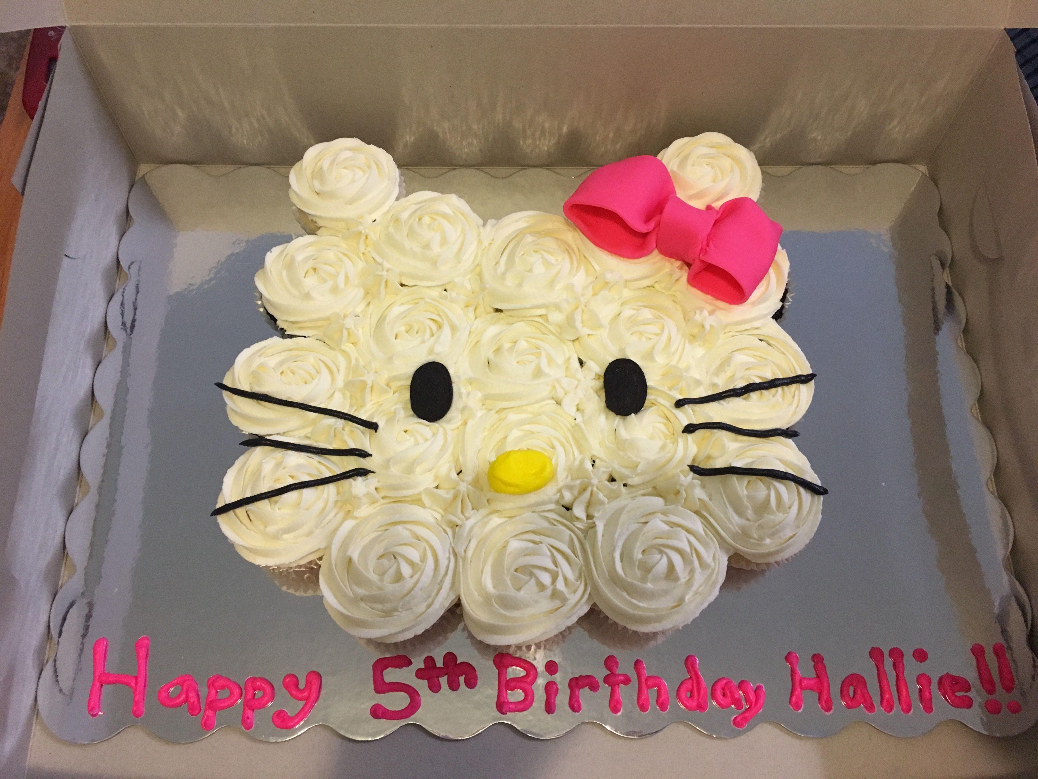 Hello Kitty Cupcake Cake Hello Kitty Cupcakes Kitten Birthday Party Cat Cupcakes