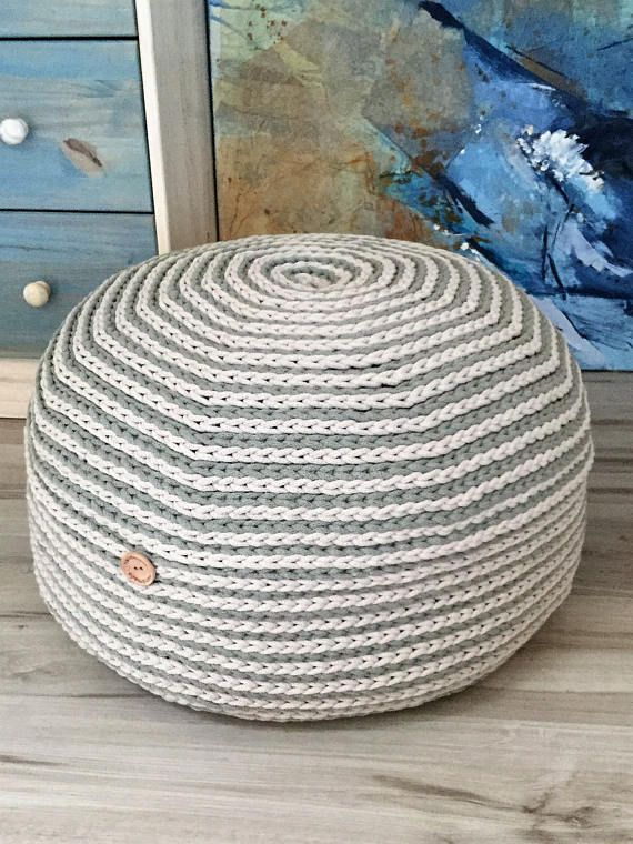 Hand crocheted large pouf, floor pillow, rope crochet ottoman, foot ...