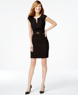 Calvin Klein Buckled Sheath Dress 109 00 Amp Up Your Career Look With S Haute Detailed A Gold Tone Buckle And Chic Zipper