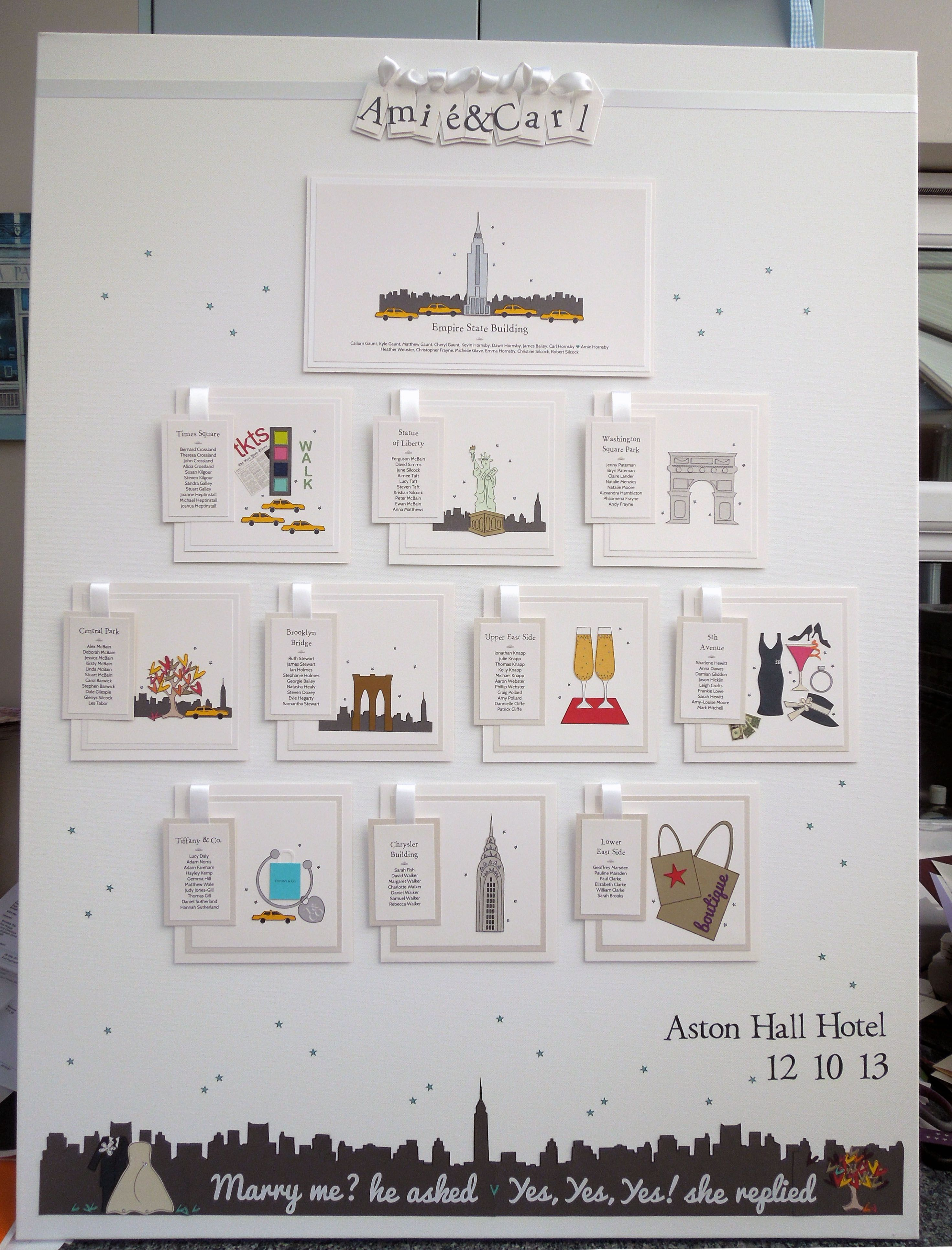 Very large New York City themed wedding table plan in stunning white ...