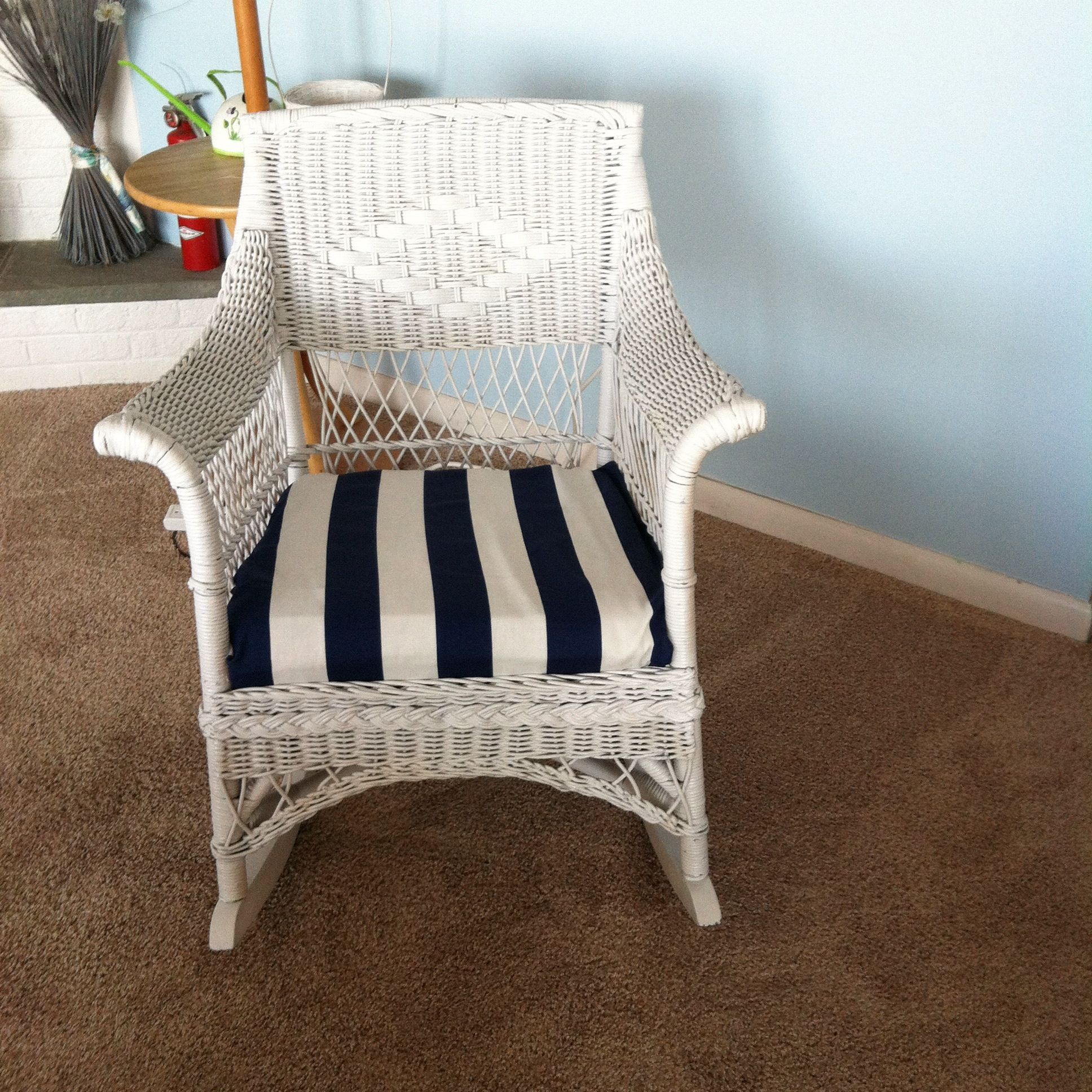 Repurposed Wicker Chair; White weather proof painted and