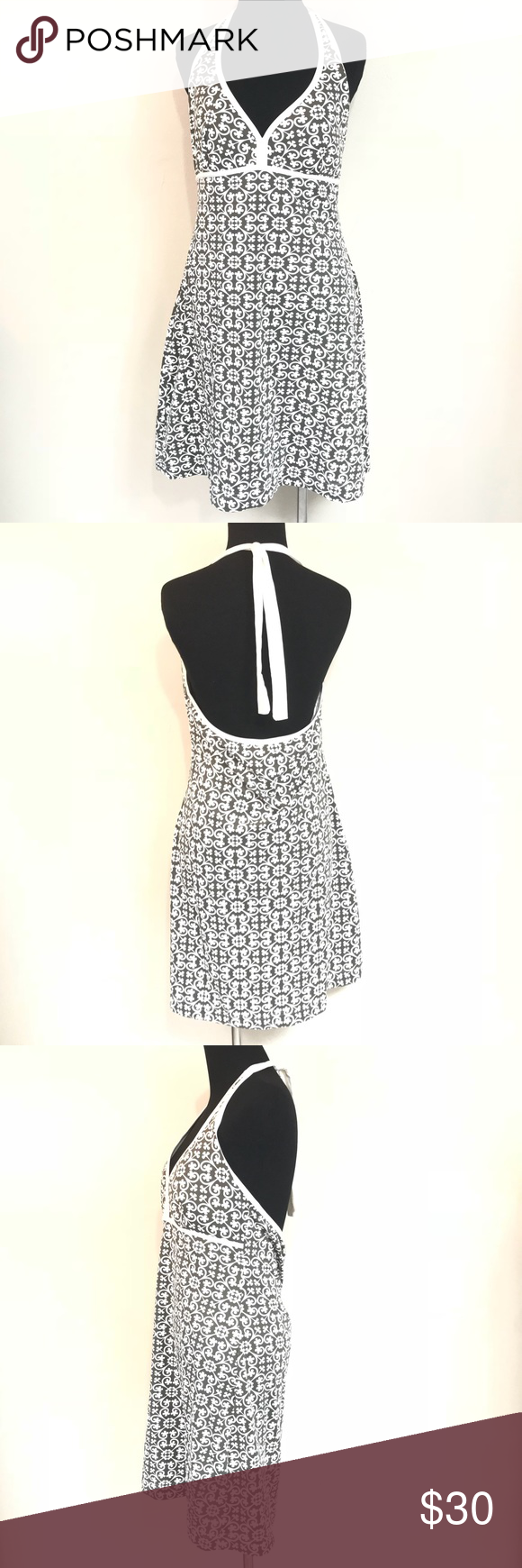 TOMMY BAHAMA GREEN AND WHITE HALTER DRESS SIZE M Good condition tommy BAHAMA halter dress size medium Tommy Bahama Dresses