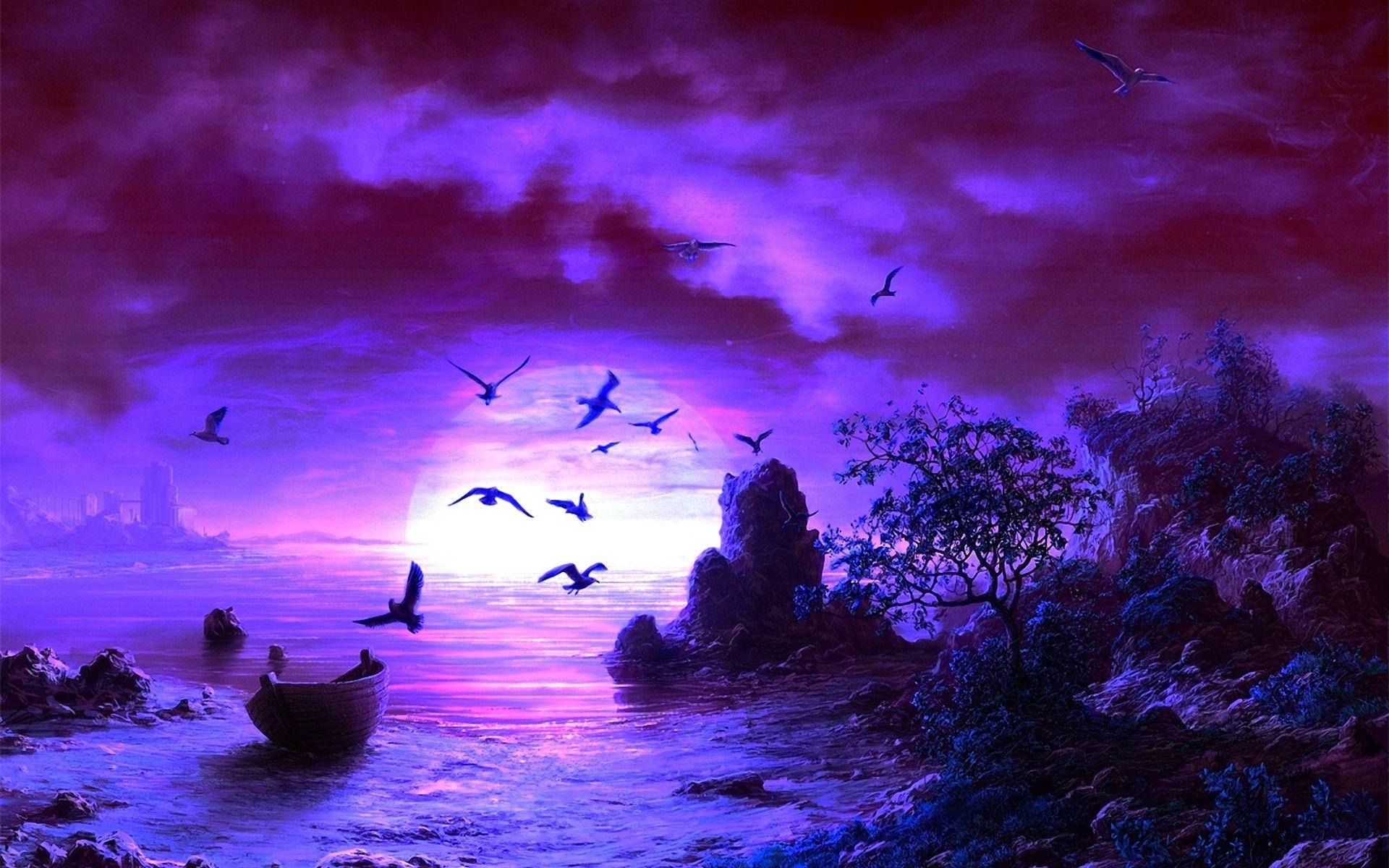 Fantasy Moon Art Desktop Wallpapers Fantasy Fantasy Art Birds Moon Tree Fantasy Backgrounds Fantasy Background Wallpaper Amazing Sunsets