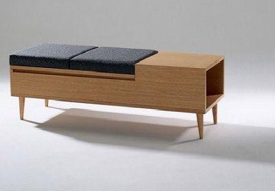 mid century modern storage bench