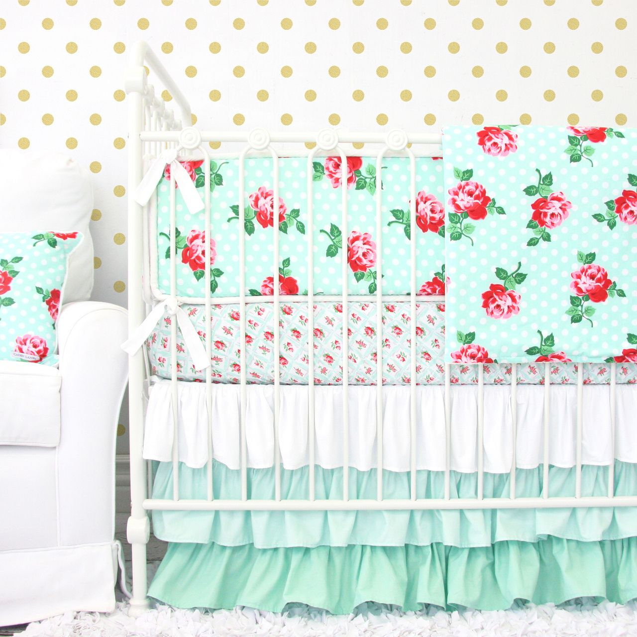Mint and roses =vintage - Caden Lane's Lucy's Mint Rose is perfect inspiration for a vintage nursery design!