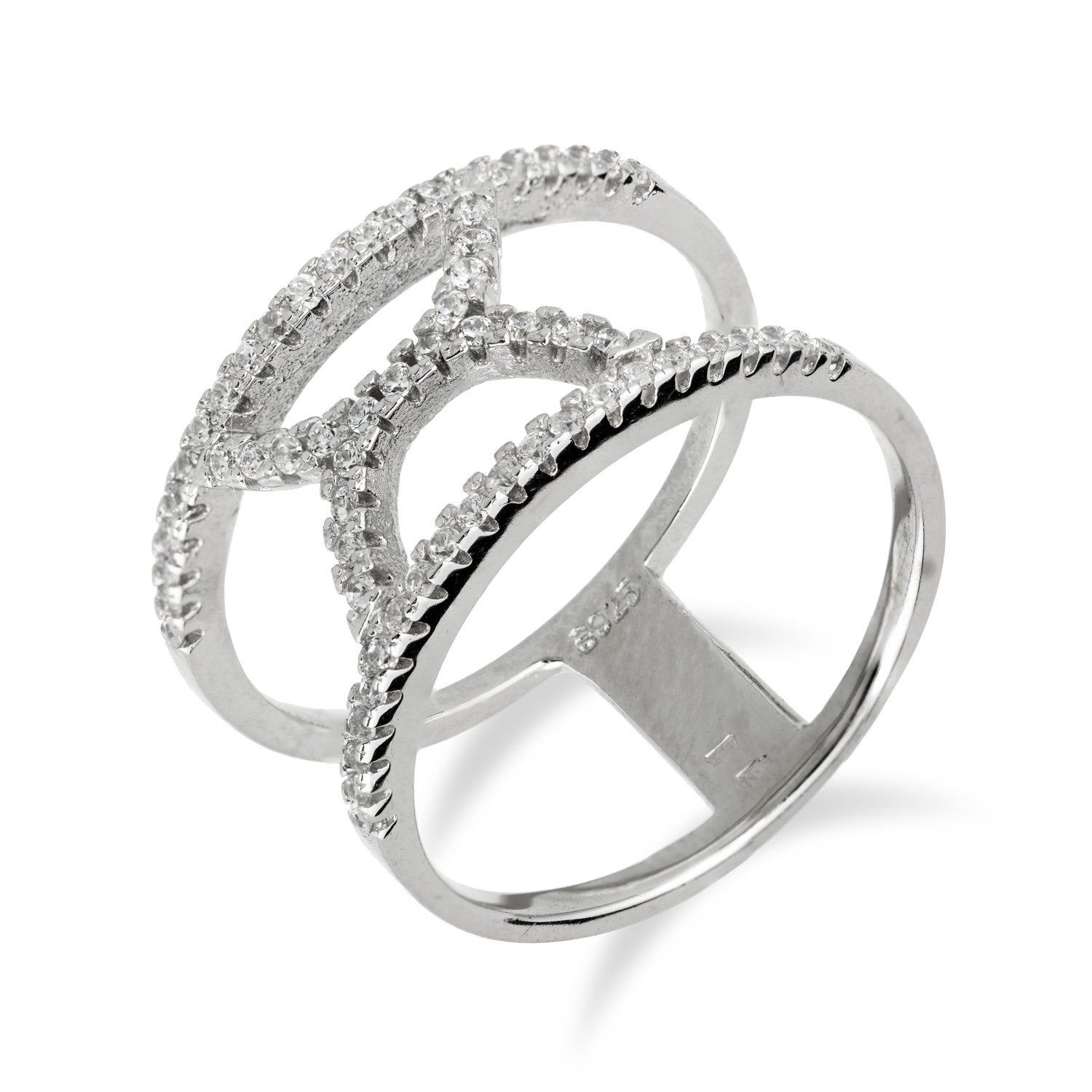 Wide Half Circle Ring In 925 Sterling Silver With Cubic Zirconia In 2020 925 Silver Rings Silver Rings Circle Ring