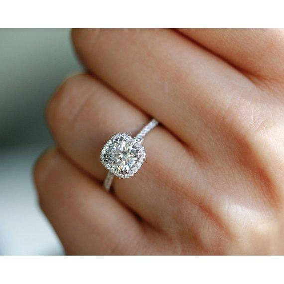 fa8b0ea9e629b2 1-1/3 Carats (ct.tw) Cushion Halo Moissanite & Lab Grown Diamond ...